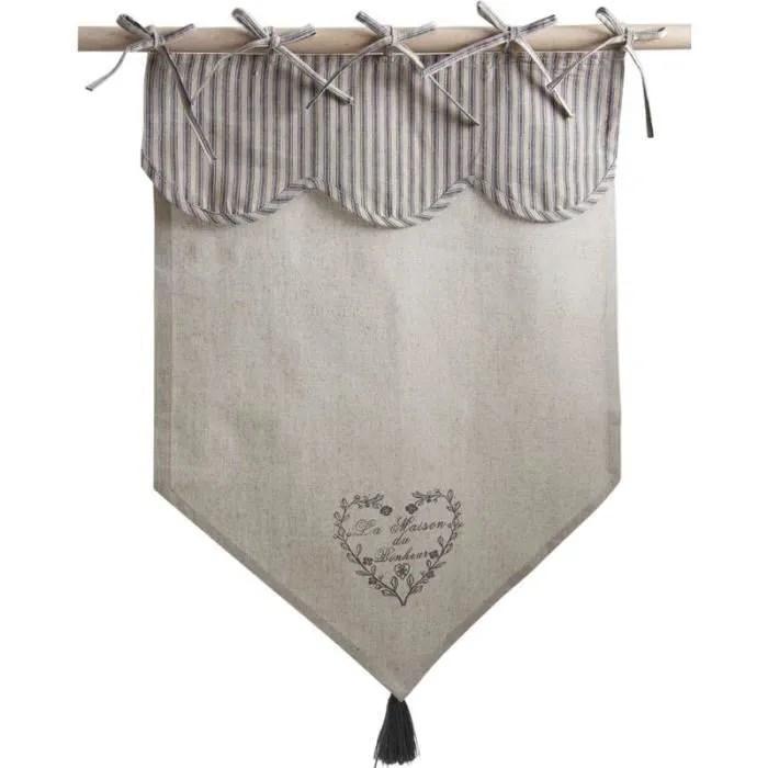 rideau en coton et lin motif coeur gris