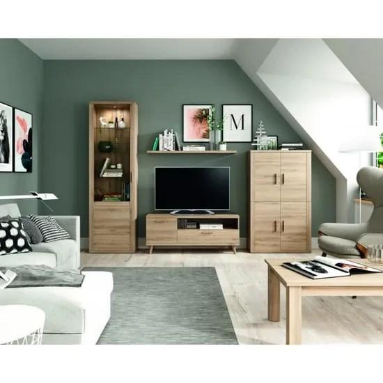 ensemble bibliotheque meuble tv table basse kronos 103plus compose de 5 elements
