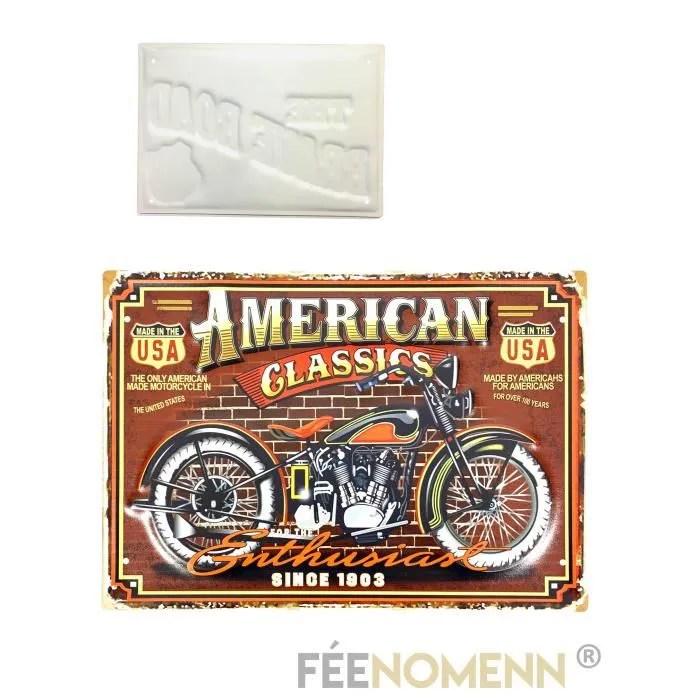 plaque metal deco vintage moto american classic 30x40cm objet de decoration murale