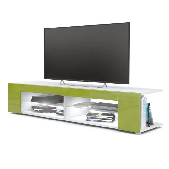 meuble tv blanc mat facades en vert clair laque