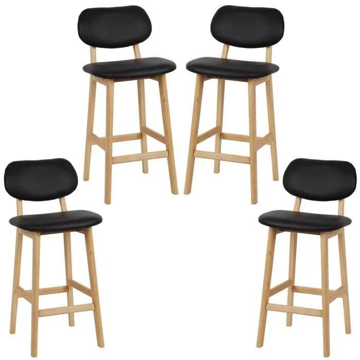 4pcs tabouret de bar chaise de cuisine en bois bl