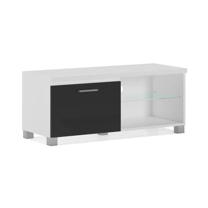 meuble de television led salon salle a manger blanc et noir laque dimensions 100 x 40 x 42 cm de profondeur
