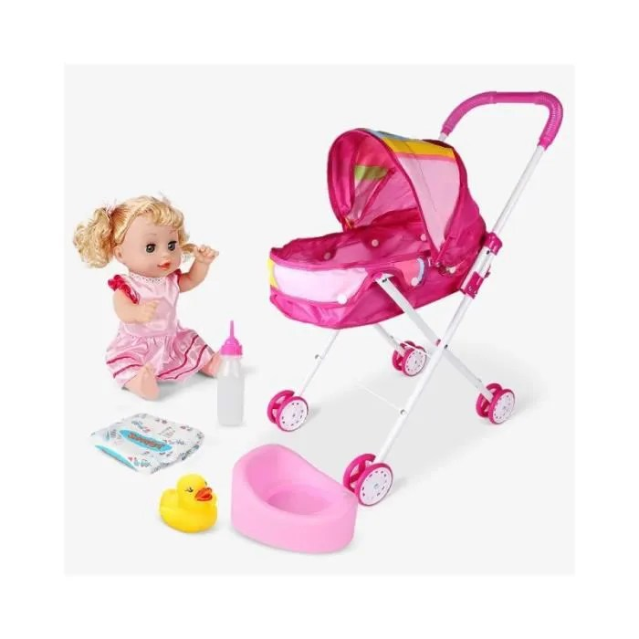 bebe confort poussette pour poupee trendy poussette de poupee arc en ciel rose jouet de simulation landau pour enfant cadeau