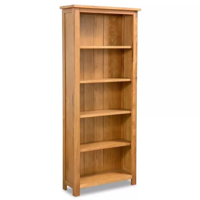 bibliotheque a 5 etageres 60x22 5x140 cm en bois de chene massif