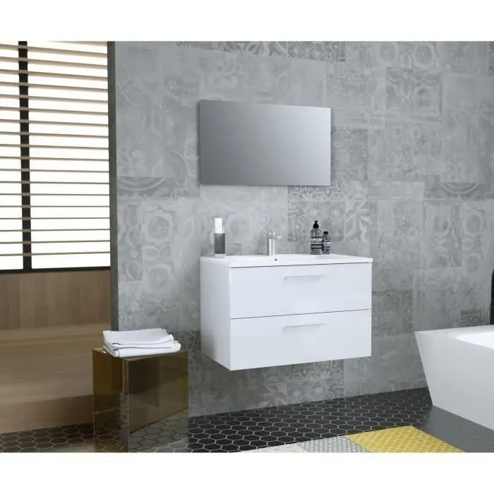 glossy meuble de salle de bain simple vasque l 80cm blanc laque brillant