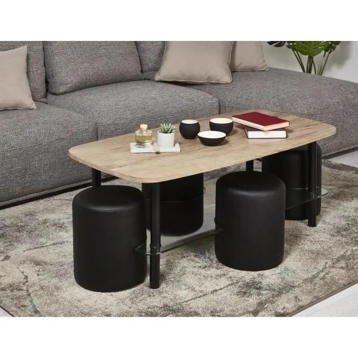 table basse bois et verre noir