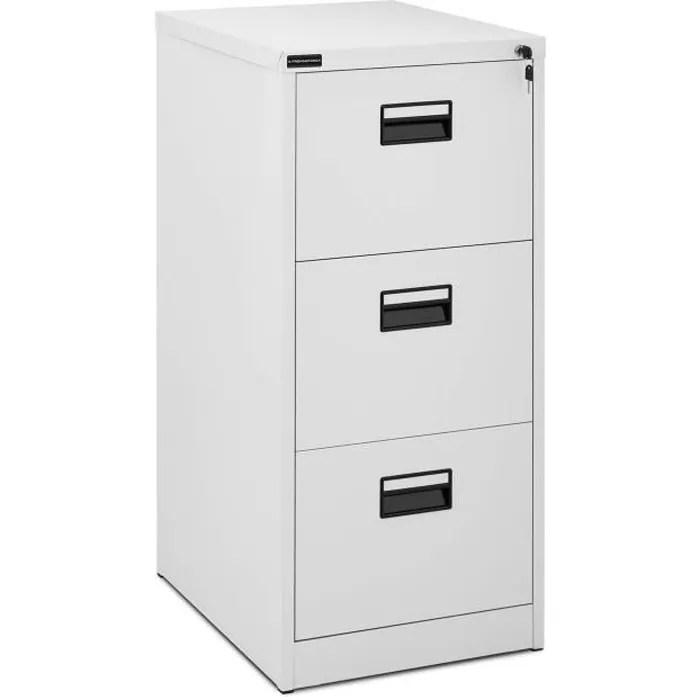armoire a dossiers suspendus metallique 3 tiroirs meuble de rangement bureau