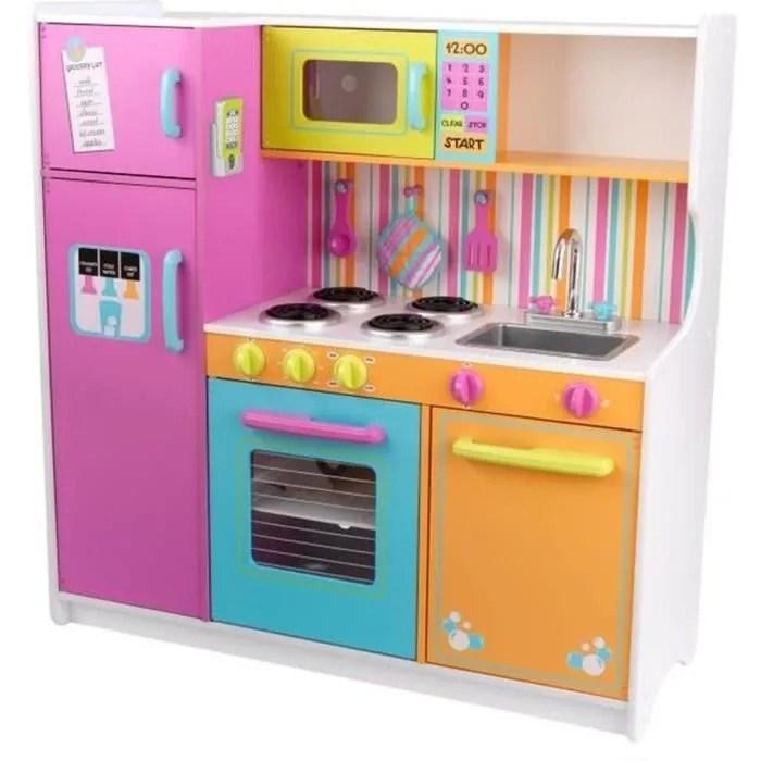 kidkraft grande cuisine enfant couleurs vives en bois