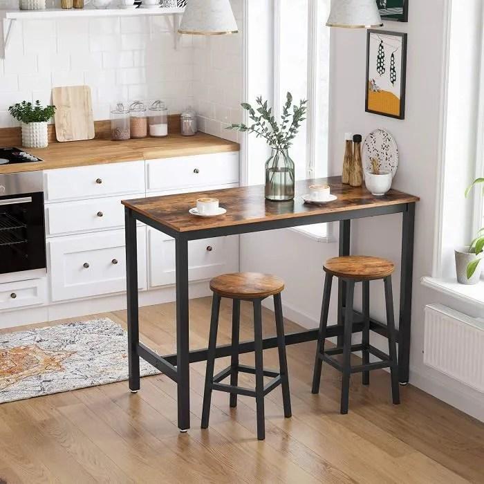 vasagle table de bar vintage 120 x 60 x 90 cm table polyvalente armature en fer pour salon aspect texture du bois lbt91x