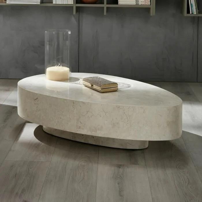 table basse ovale en pierre fossile