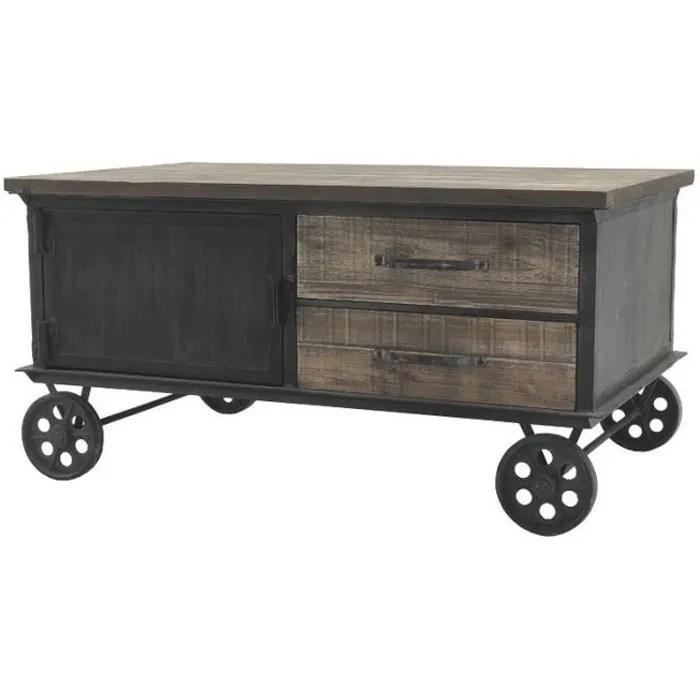 grande table basse en fer bois sur roulettes industriel 130 cm x 70 cm 14005 table