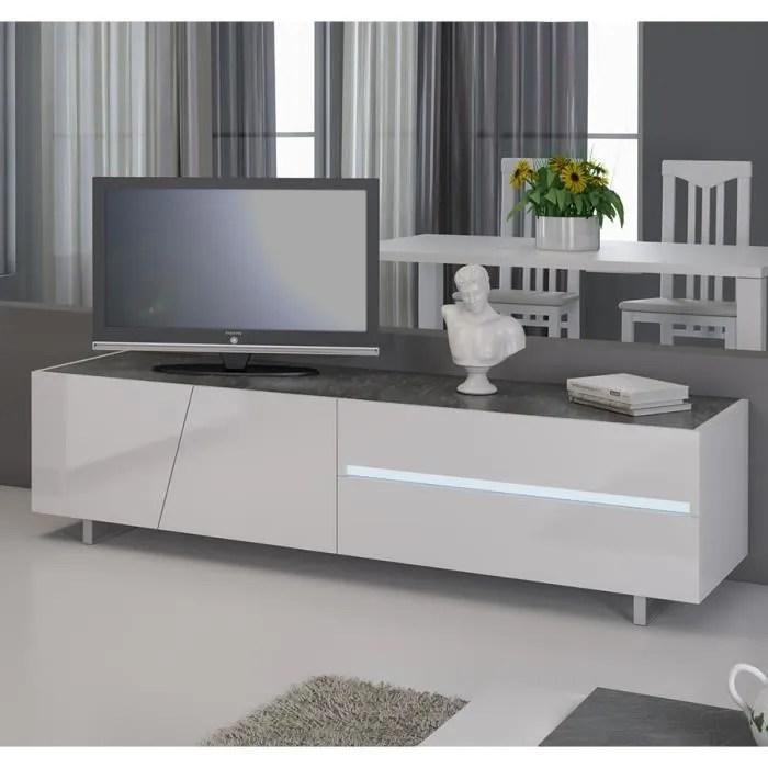 meuble tv blanc laque avec eclairage a led integre
