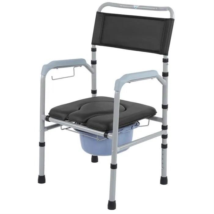 chaise percee pour adulte chaise toilette hauteur reglable avec couvercle commode pliante en alliage d aluminium tam