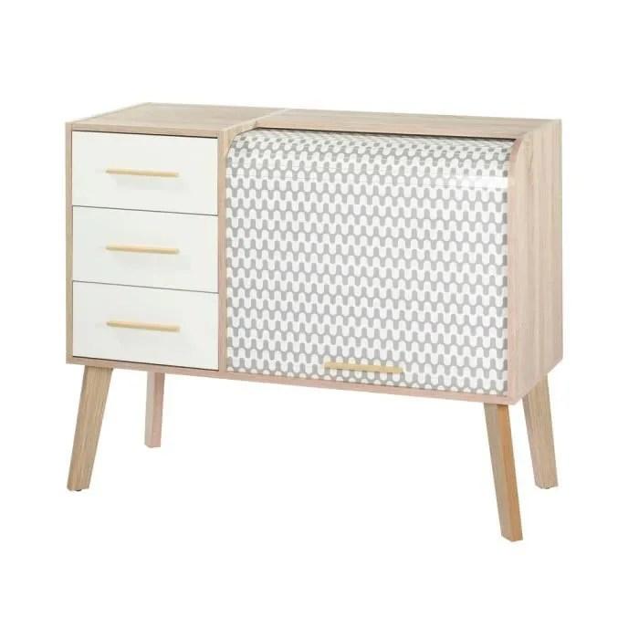 meuble de rangement vintage en bois tiroirs blancs
