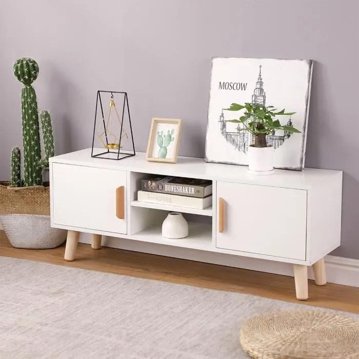 meuble angle tv scandinave 110cm
