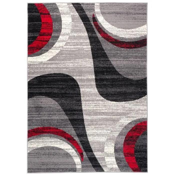 tapiso dream tapis de salon chambre ado design moderne gris fin rouge noir creme vagues doux poil court 200 x 300 cm