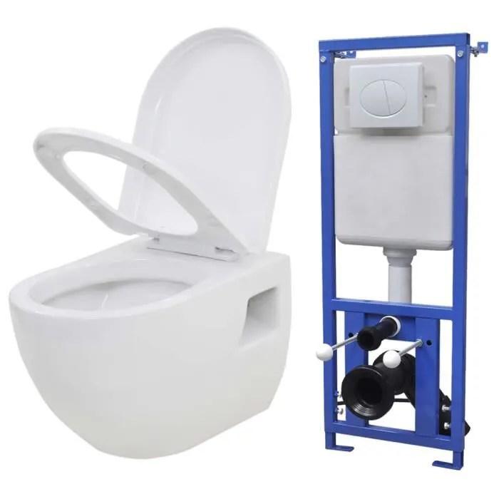Meublepro Toilette Murale Bidet Avec Reservoir De Chasse Cache Ceramique Blanc1898 Cdiscount Bricolage