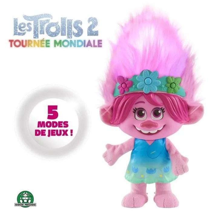 trolls world tour peluche poppy 35 cm cheveux multicolores avec fonctions