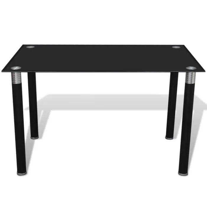 table a manger noire avec plateau en verre trempe