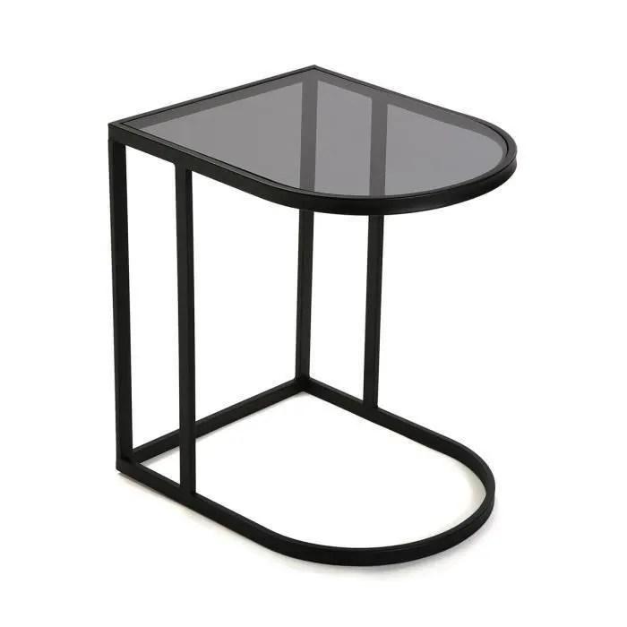 table de chevet en verre et metal noir l 50 x l 40 x h 55 cm