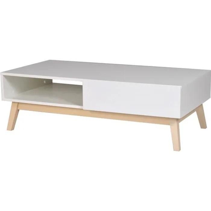 home table basse scandinave blanc satine avec pieds bois tilleul massif l 120 x l 60 cm