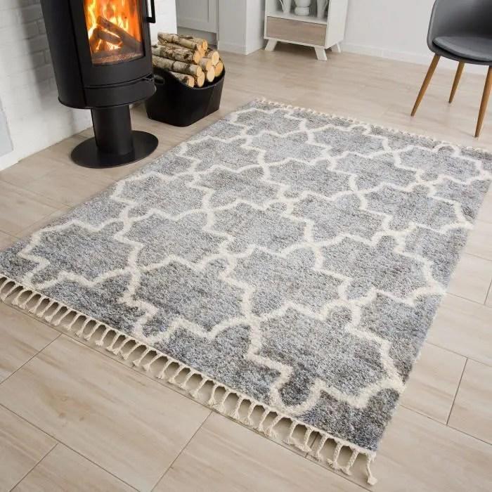 tapiso versay fringes tapis salon moderne trefle g