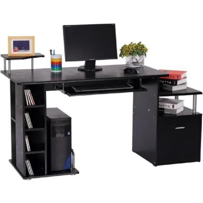 bureau pour ordinateur table meuble pc informatique en mdf noir 13