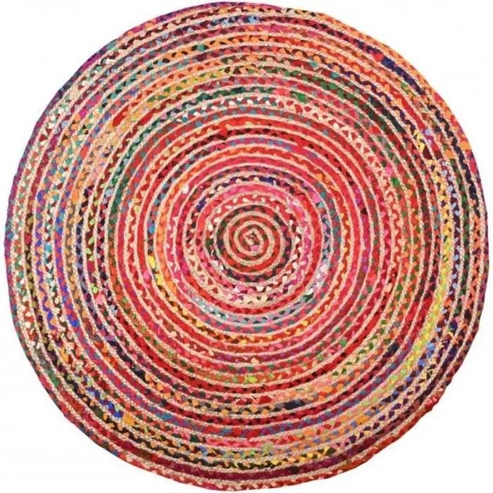 tapis rond multicolore en jute et en coton o 120cm