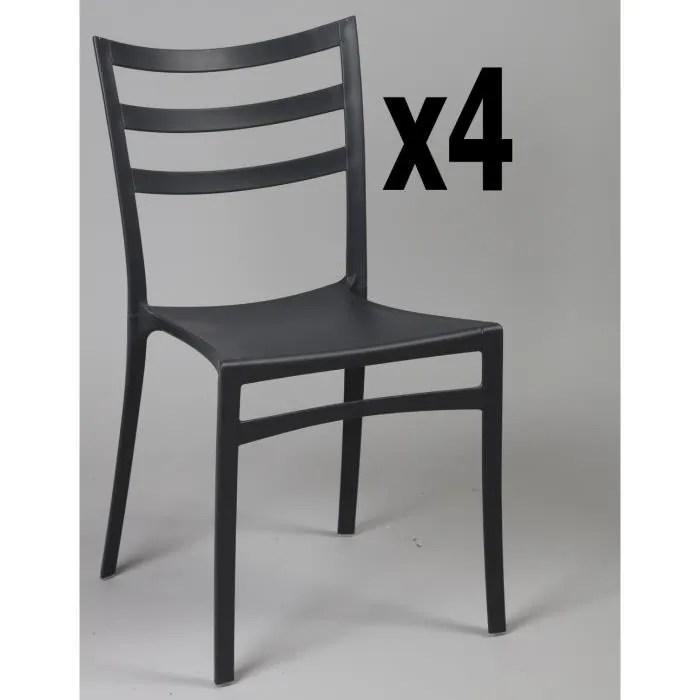 lot de 4 chaises en polypropylene de couleur noire ht860 x ht ass460 x l510 x l470 mm