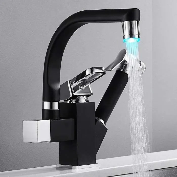 robinet cuisine mitigeur 360 led avec douchette extractible mitigeur de lavabo vasque 2 bec pratique