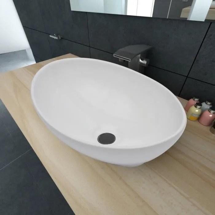 vasque a poser ovale blanche