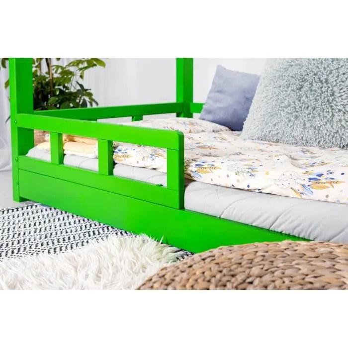 structure de lit enfant en bois massif cabane c 70 x 140 cm avec sommier couleur vert