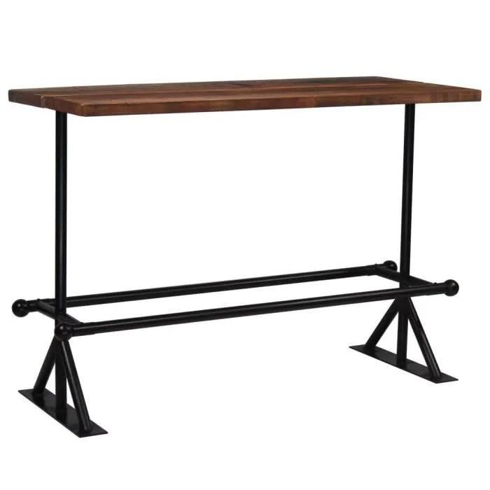 table haute mange debout bar bistrot bois massif de recuperation marron 150 x 70 x 107 cm 0902086