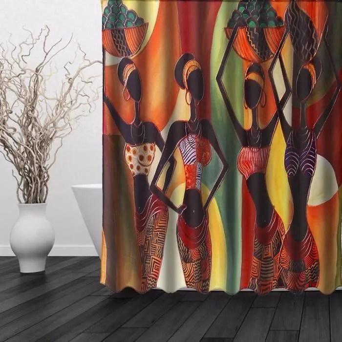 rideau de douche motif exotique imprime impermeabl