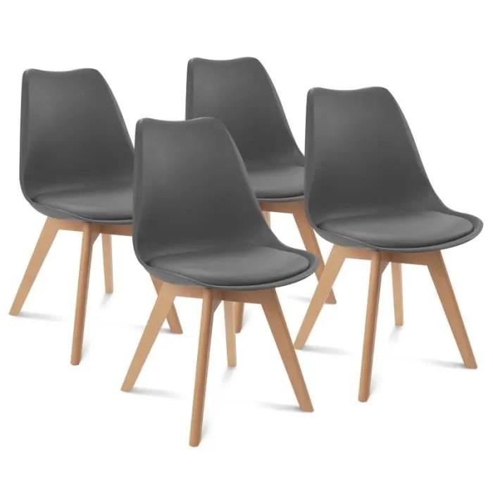 chaises x4 styles scandinave grises pour salle a manger