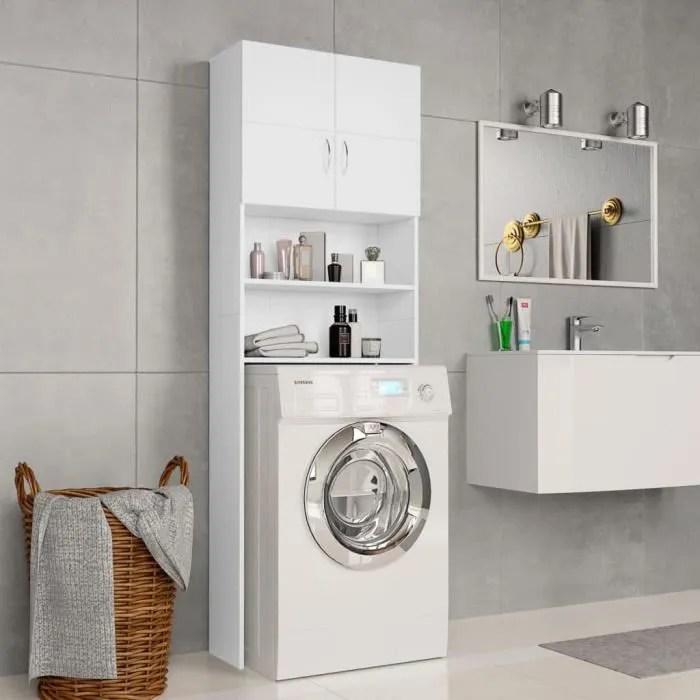 Eto Meuble Pour Machine A Laver Blanc 64 X 25 5 X 190 Cm Agglomere Cdiscount Maison