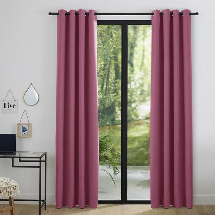 double rideaux rose