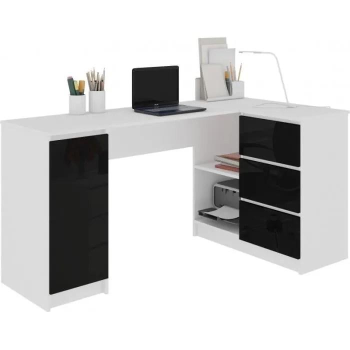 balaur bureau informatique d angle moderne 155x85x77cm 3 tiroirs gloss table ordinateur multi rangements blanc noir laque