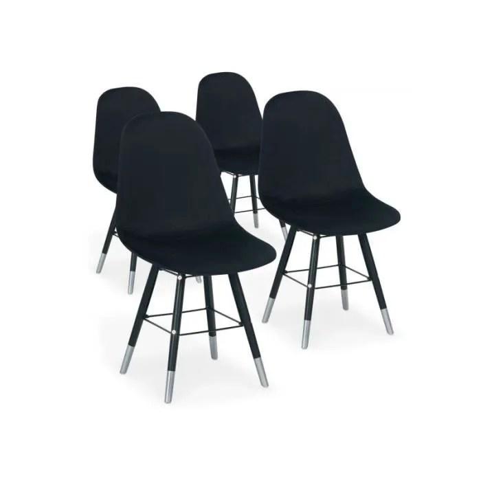 chaises scandinaves vlad velours noir