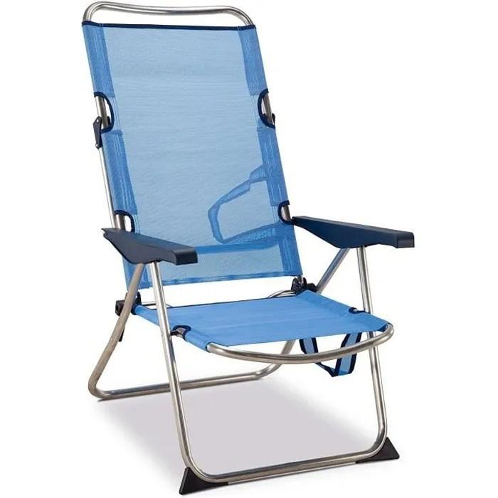 chaise plage lit positions haute en aluminium et