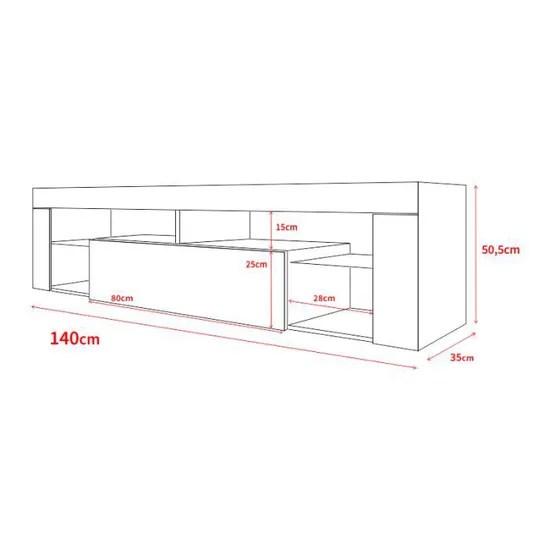 meuble tv meuble de salon hugo 140 cm blanc mat gris brillant sans led style moderne tablette en verre