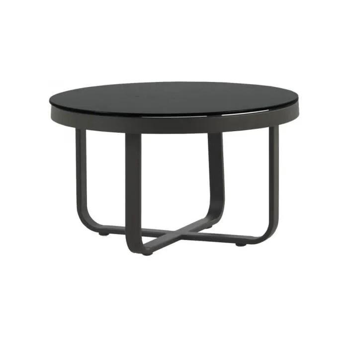 table basse ronde aluminium gris