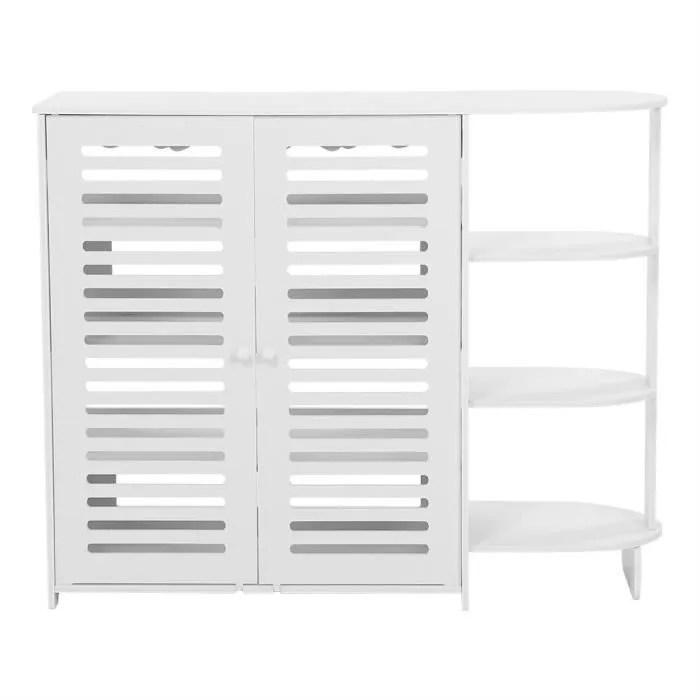 meuble a chaussures demi coin en bois blanc d organisateur de support de stockage de cabinet de chaussure en bois blanc tam