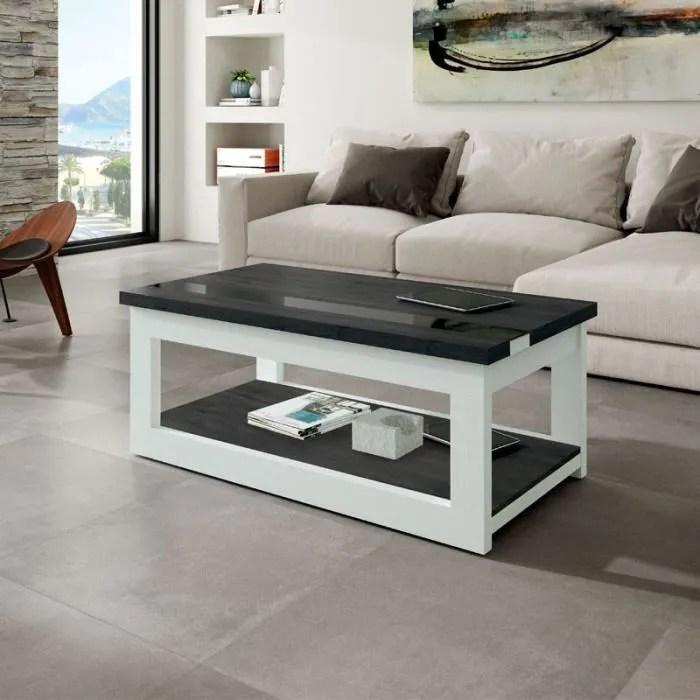 table basse relevable bois blanc bois noir upti l 110 x l 60 x h 44 58