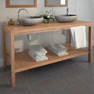 salle de bains teck massif 132x45x75cm