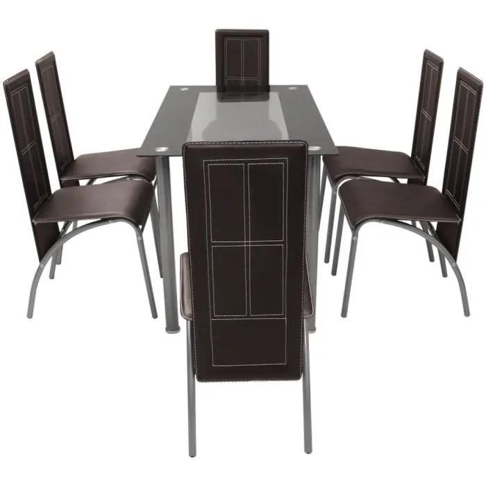 6 chaises similicuir design brun