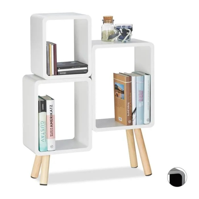 relaxdays etagere 3 cubes carres bibliotheque bois mdf 4 pieds commode tablette hxlxp 69 x 52 5 x 18 cm 4052025957124