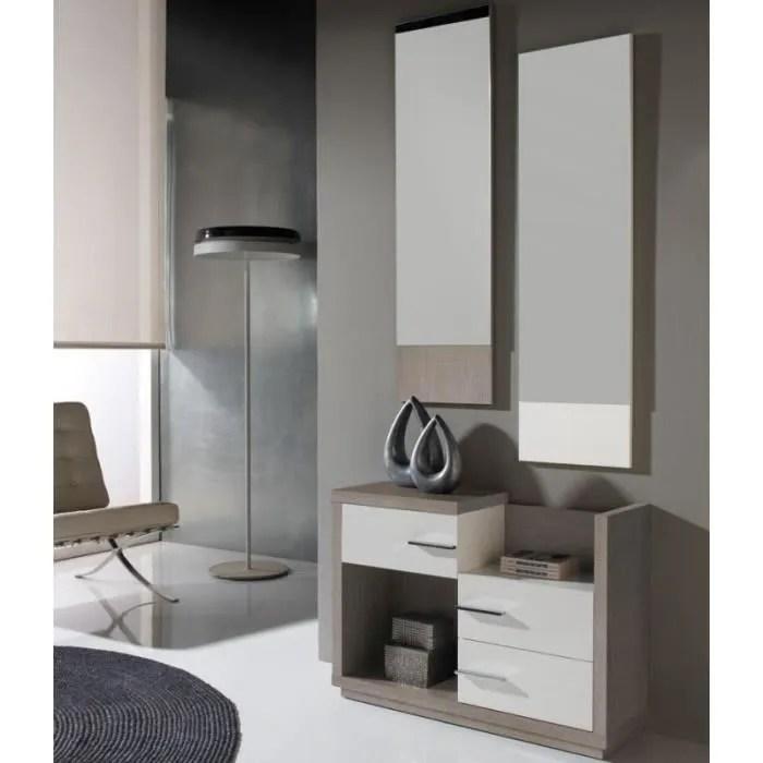 meuble d entree blanc chene clair miroirs colb