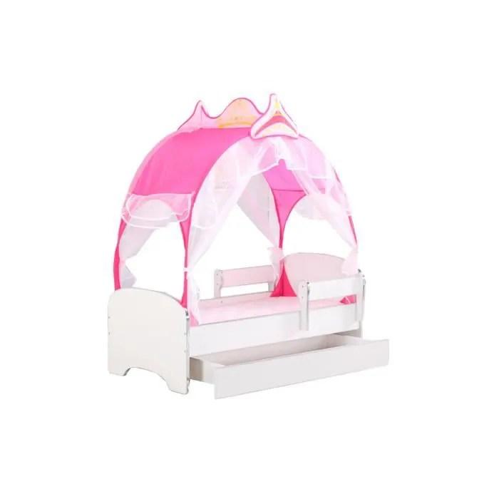 lit enfant avec tente de princesse rose barriere anti chutes sommier
