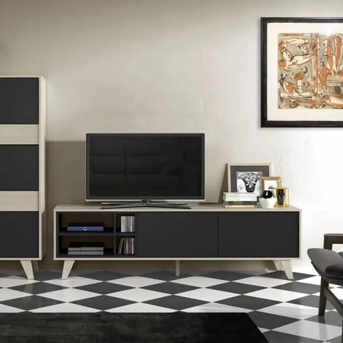 meuble tv 2 portes 4 niches chene clair gris sto